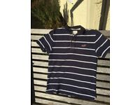 Hollister Navy Striped Polo shirt, size small