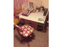 Pink and white desk with chair