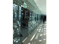 JOB LOT || Safety Glass Partition Panels for Office/Retail w/ Door Handles, Hinges and Fixings