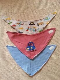 Baby Boy Clothes, 3 x Dribble Bibs (2 from Next, 1 bespoke hand made), very good condition