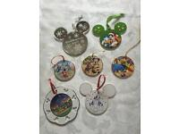 7 DISNEY China Hanging Ornaments (4 Dated Pieces - Includes 25th Anniversary & Millennium
