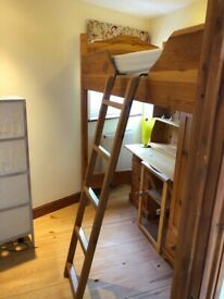 Cabin bed with desk and wardrobe