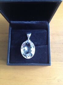 White Quartz sterling silver pendant.