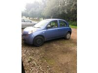 Nissan Micra 2003 1.2L 5dr petrol blue needs new brakes and exhaust