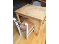 Children's wooden chair and table