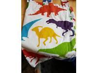 Curtains and single duvet set dinosaurs