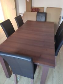 Mahogany effect extending Dining Table and 8 chairs