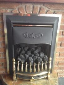 Brass effect real flame gas fire