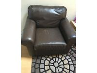 Ikea Brown Leather Armchair