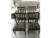 set of 4 four Antique Wooden Dining Chairs With Tapestry Upholstery