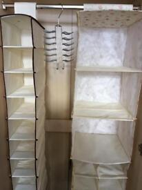 Shelf hanging storage units x2 and tie hanger now reduced