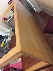 Solid beech wood table and 6 chairs