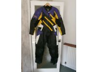 Akito One Piece Leathers - Black/Yellow/Purple Design