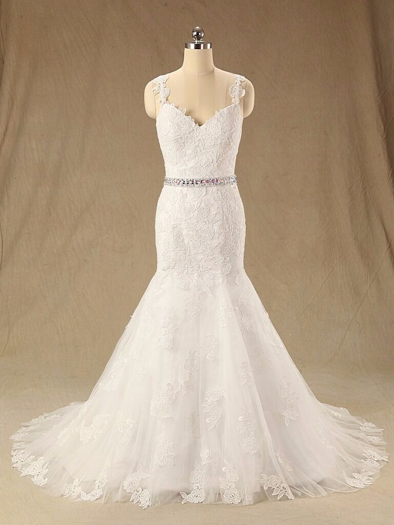 V neck line with straps wedding dress. available in white or ivory size 6-30