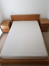 Double bed (Ikea, Malm, Oak Veneer)