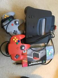 Nintendo N64 with 2 controllers & Super Mario
