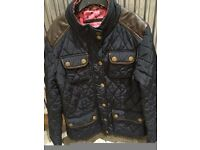 Next Girls Navy & Brown Quilted Jacket aged 11-12 great condition
