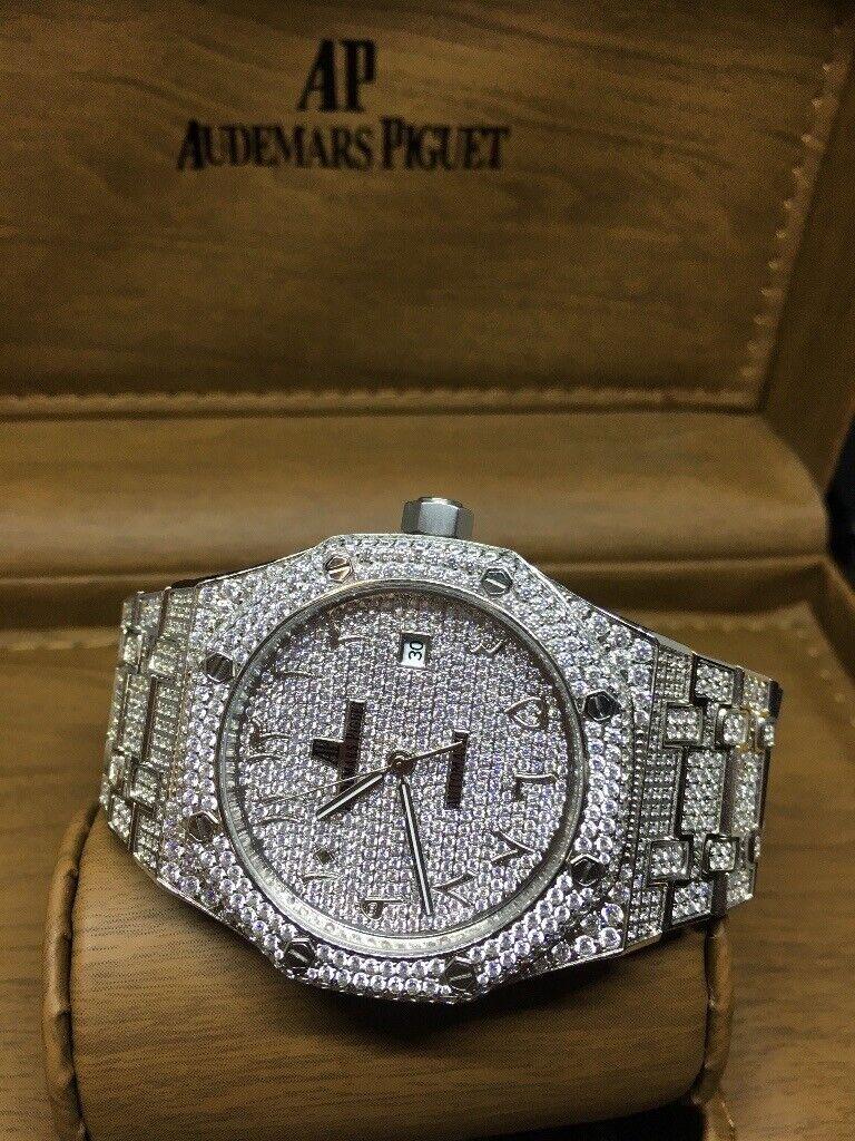 Offshore Royal Oak Audemars piguet iced diamond watch skeleton santos  Arabic dial | in Birmingham City Centre, West Midlands | Gumtree