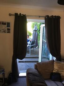 Chocolate velvet curtains 2sets with tie backs 220 cm drop