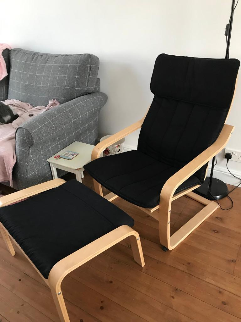 Black Ikea Poang chair and footstool