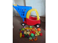 Little Tikes Cozy Coupe Shopping Cart with plastic food