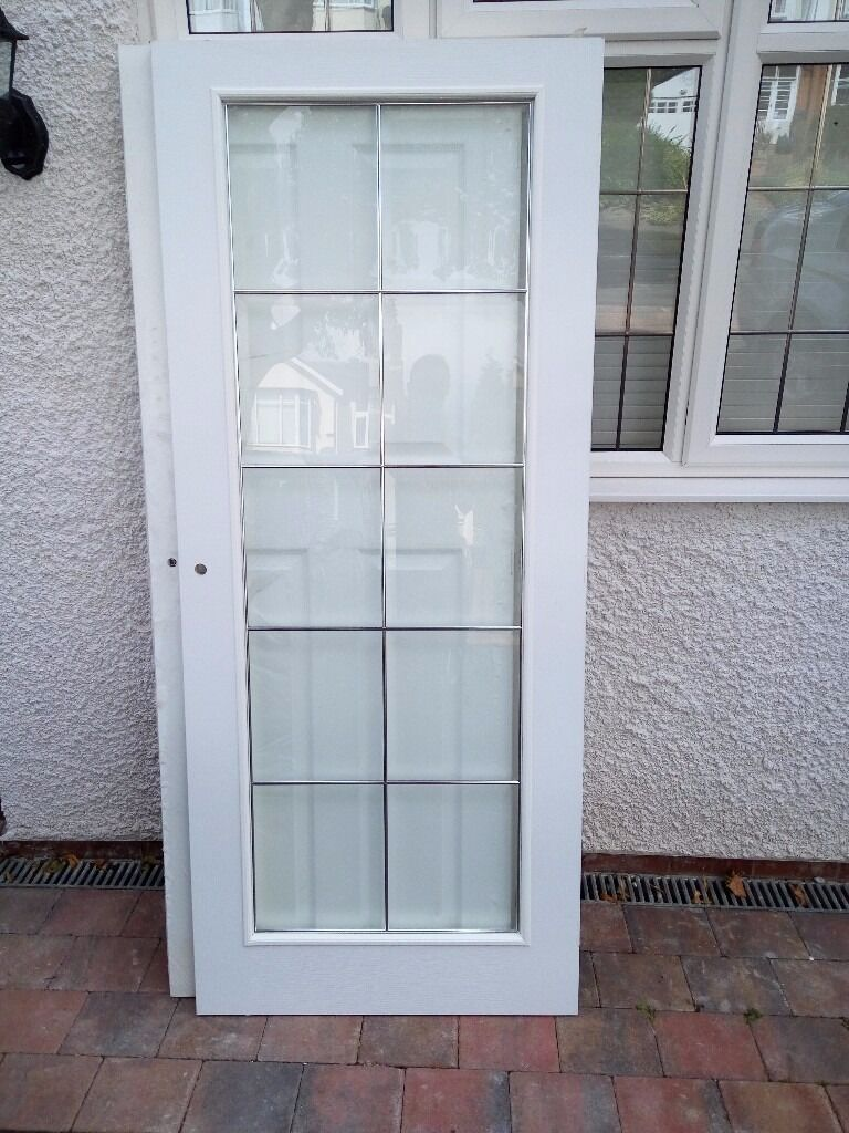 New White Internal Glass Door Spare From House Refurbishment In