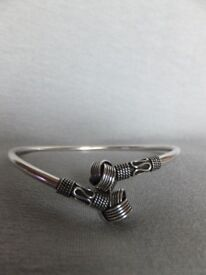 Sterling Silver Unisex Bali Double Knot Twist Cuff Bangle