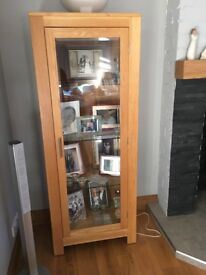 Solid Oak and glass display cabinet x 2