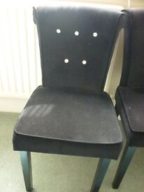 Black padded bedroom chair bejewelled button (3 available)