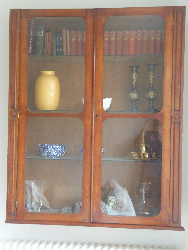 Antique Mahogany Wall Hanging Display Cabinet With Gl Doors And Shelves