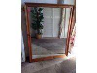 Large Pine Frame Wall Mirror