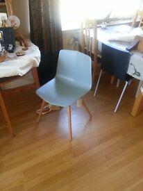 Cool duck egg blue chair, timber legs
