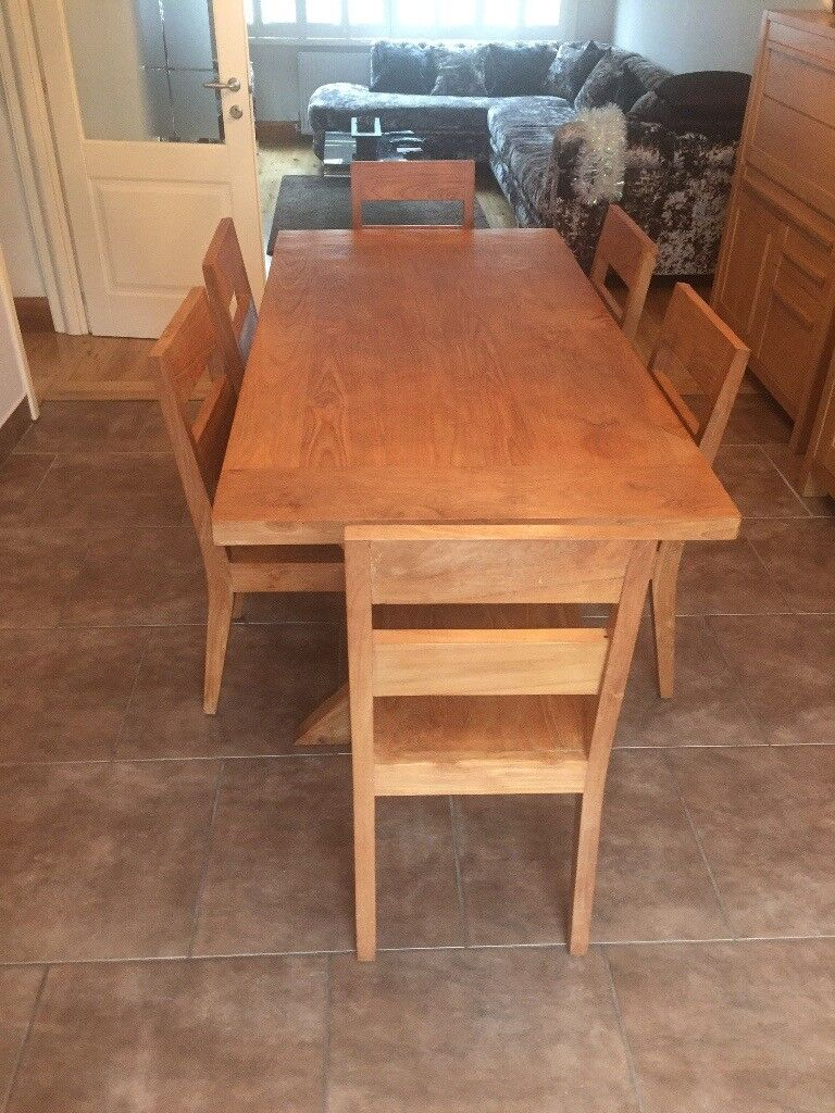 Lombok Lombok wooden dining table and 6 high back chairs