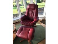 Leather Vintage Swivel Chairs with Foot Stools 2No