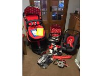 Cosatto Hipstar Travel System - Group 0 car seat,carry cot,stroller & parasol, Mummy clip & spiraloo