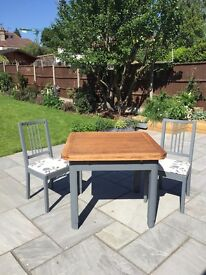 Upcycled Extending table & 2 chairs painted in Little Greene Scree