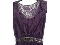 Coast Lori Lee Lace Short Dress Size 8. Grape Colour.