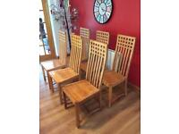 6 handmade wooden dining chairs
