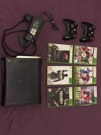 Xbox 360 Elite 250gb with 2 controllers and games