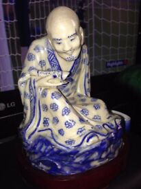 Antique Chinese Blue and White Figure With Stand