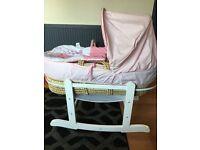 Pink elephant Moses basket
