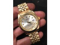 Gold Rolex datejust watch, NEW 40mm, (white face)