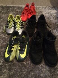 A selection of boys used, but in very good condition boys footwear in sizes 11-1