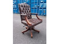 Unused Brown Leather Chesterfield Directors Chair,Can Deliver