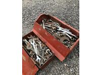 2 x VINTAGE TOOL BOXES FULL OF VINTAGE SPANNERS