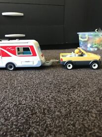Play mobile caravan and truck including figures