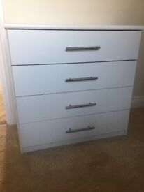 White Chest 4 drawers & Bedside Table