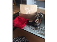 GENUINE CHRISTIAN LOUBOUTIN HIGH HEELS SIZE 4.5 newly repainted. Ex cond receipt, bag and box inc