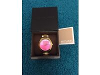 Ladies pink face and gold tone Michael Kors Watch
