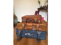 3 Vintage Suitcases Stack (Job Lot!)